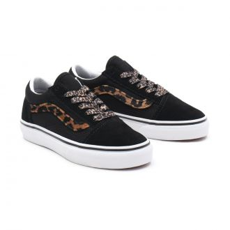 YOUTH LEOPARD FUR OLD SKOOL SHOES (8-14 YEARS)